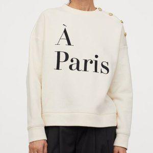 H&M A Paris Sweatshirt with Gold Buttons